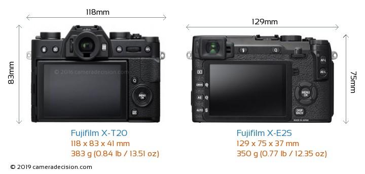 Fujifilm X-T20 vs Fujifilm X-E2S Camera Size Comparison - Back View