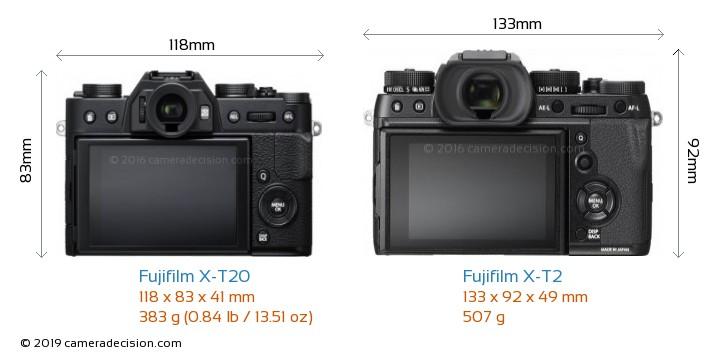 Fujifilm X-T20 vs Fujifilm X-T2 Camera Size Comparison - Back View