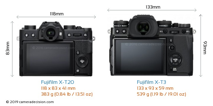 Fujifilm X-T20 vs Fujifilm X-T3 Camera Size Comparison - Back View