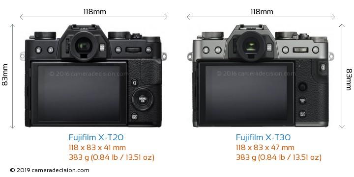 Fujifilm X-T20 vs Fujifilm X-T30 Camera Size Comparison - Back View