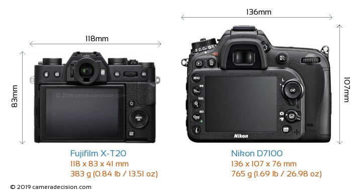 Fujifilm X-T20 vs Nikon D7100 Camera Size Comparison - Back View