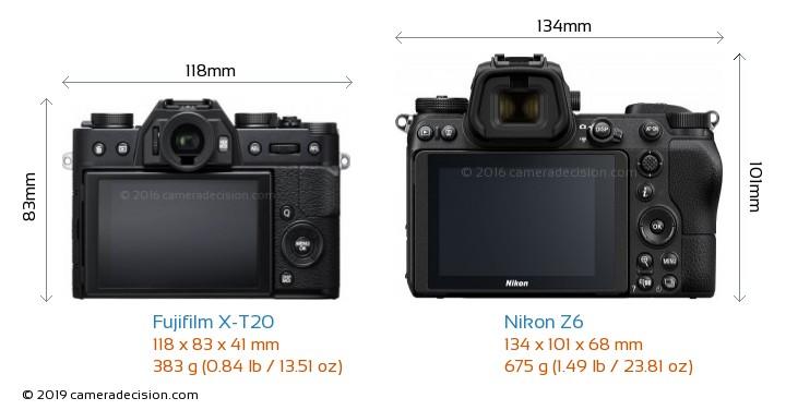 Fujifilm X-T20 vs Nikon Z6 Camera Size Comparison - Back View
