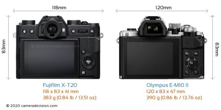 Fujifilm X-T20 vs Olympus E-M10 II Camera Size Comparison - Back View