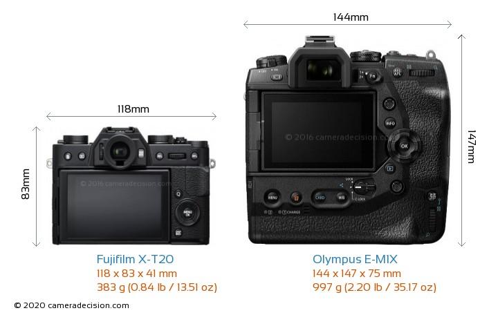 Fujifilm X-T20 vs Olympus E-M1X Camera Size Comparison - Back View