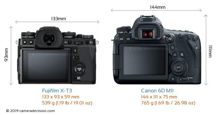 Fujifilm X-T3 vs Canon 6D MII Camera Size Comparison - Back View