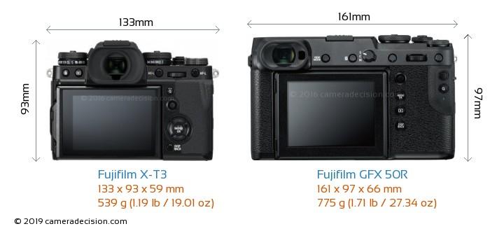 Fujifilm X-T3 vs Fujifilm GFX 50R Camera Size Comparison - Back View