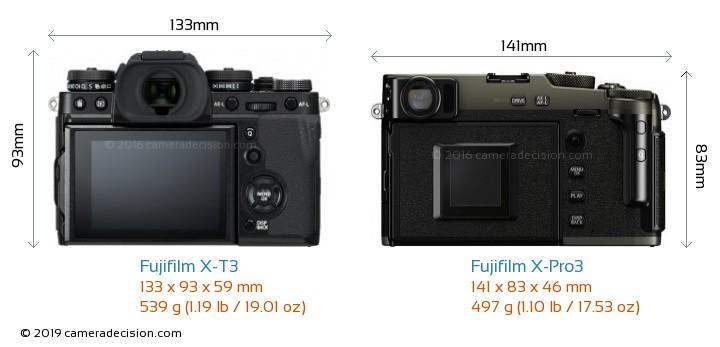 Fujifilm X-T3 vs Fujifilm X-Pro3 Camera Size Comparison - Back View
