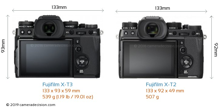 Fujifilm X-T3 vs Fujifilm X-T2 Camera Size Comparison - Back View