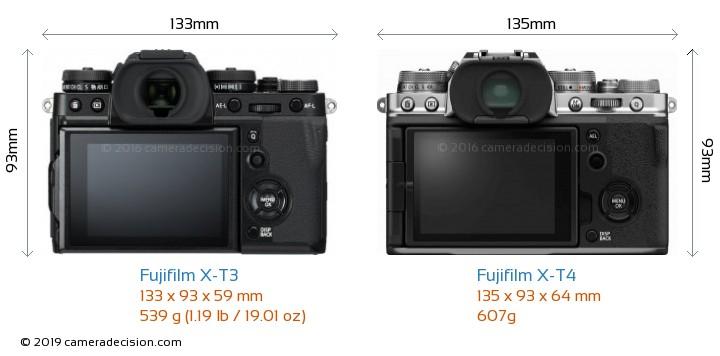 Fujifilm X-T3 vs Fujifilm X-T4 Camera Size Comparison - Back View
