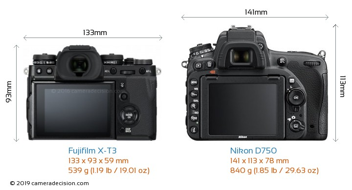 Fujifilm X-T3 vs Nikon D750 Camera Size Comparison - Back View