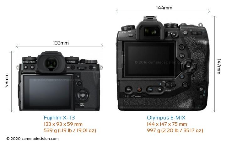 Fujifilm X-T3 vs Olympus E-M1X Camera Size Comparison - Back View
