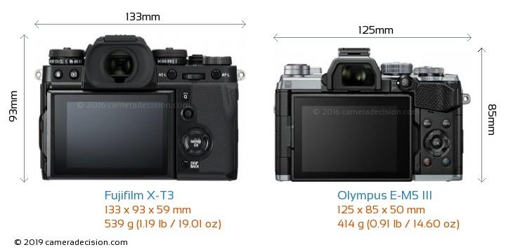 Fujifilm X-T3 vs Olympus E-M5 III Camera Size Comparison - Back View