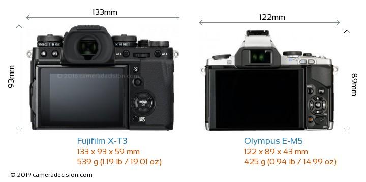 Fujifilm X-T3 vs Olympus E-M5 Camera Size Comparison - Back View