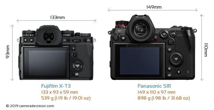 Fujifilm X-T3 vs Panasonic S1R Camera Size Comparison - Back View