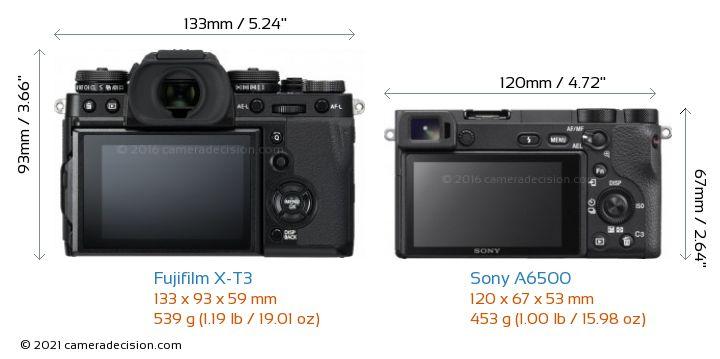 Fujifilm X-T3 vs Sony A6500 Camera Size Comparison - Back View