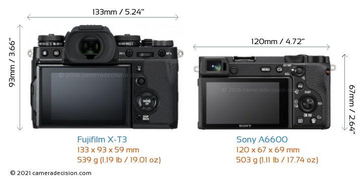 Fujifilm X-T3 vs Sony A6600 Camera Size Comparison - Back View