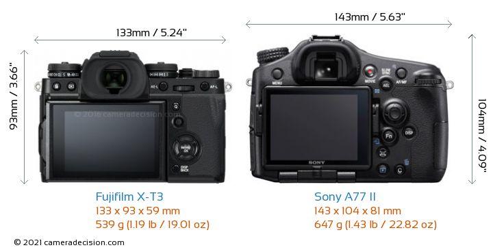 Fujifilm X-T3 vs Sony A77 II Camera Size Comparison - Back View