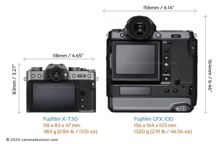 Fujifilm X-T30 vs Fujifilm GFX 100 Camera Size Comparison - Back View