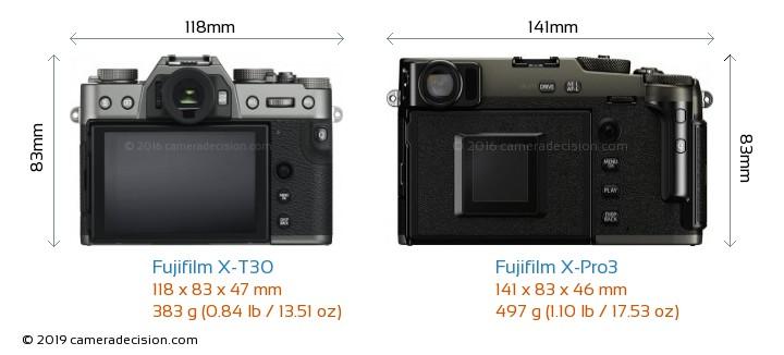 Fujifilm X-T30 vs Fujifilm X-Pro3 Camera Size Comparison - Back View
