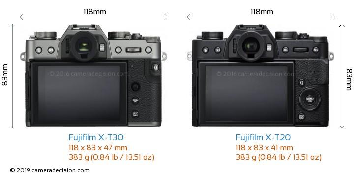 Fujifilm X-T30 vs Fujifilm X-T20 Camera Size Comparison - Back View