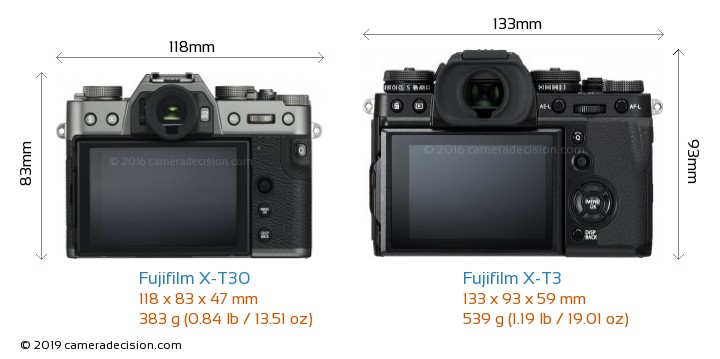 Fujifilm X-T30 vs Fujifilm X-T3 Camera Size Comparison - Back View