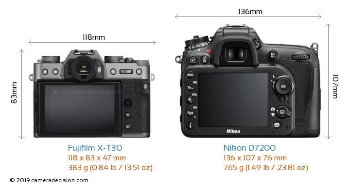 Fujifilm X-T30 vs Nikon D7200 Camera Size Comparison - Back View