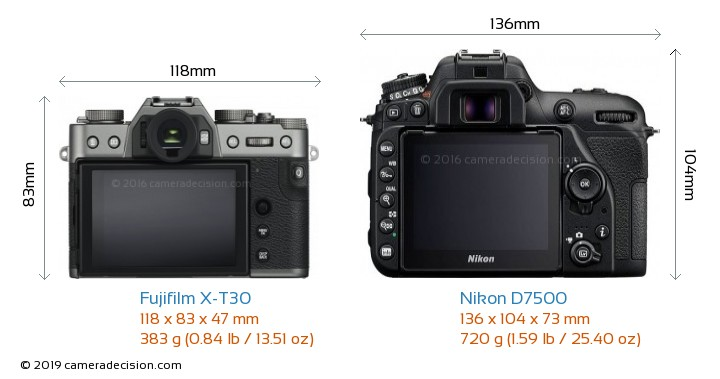 Fujifilm X-T30 vs Nikon D7500 Camera Size Comparison - Back View