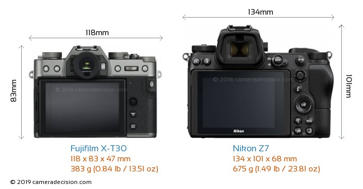 Fujifilm X-T30 vs Nikon Z7 Camera Size Comparison - Back View