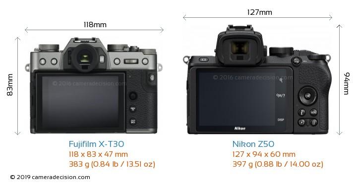Fujifilm X-T30 vs Nikon Z50 Camera Size Comparison - Back View