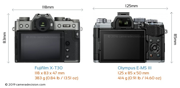 Fujifilm X-T30 vs Olympus E-M5 III Camera Size Comparison - Back View