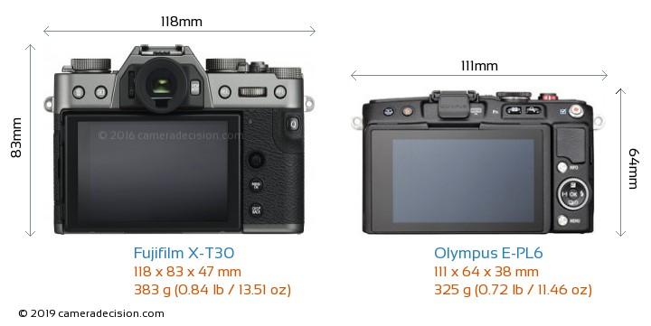 Fujifilm X-T30 vs Olympus E-PL6 Camera Size Comparison - Back View