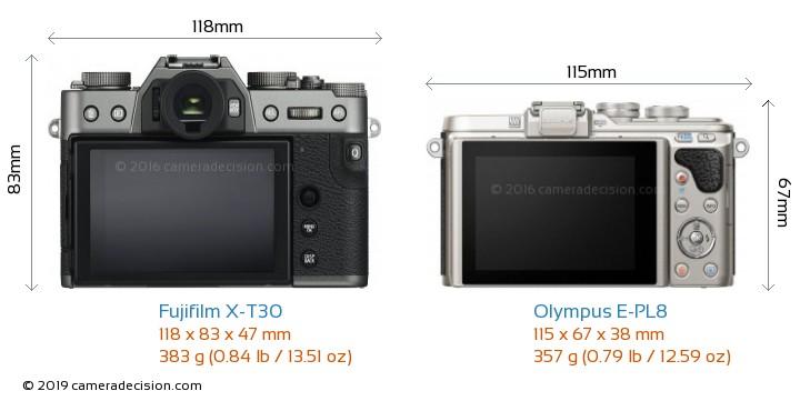 Fujifilm X-T30 vs Olympus E-PL8 Camera Size Comparison - Back View