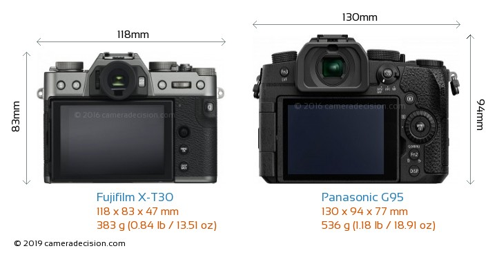 Fujifilm X-T30 vs Panasonic G95 Camera Size Comparison - Back View