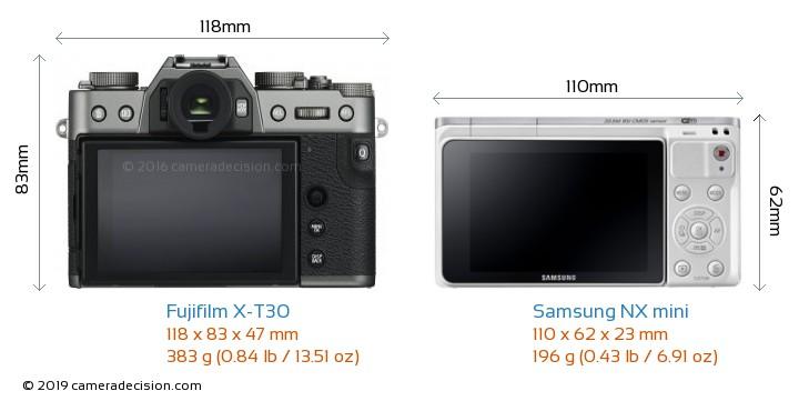 Fujifilm X-T30 vs Samsung NX mini Camera Size Comparison - Back View