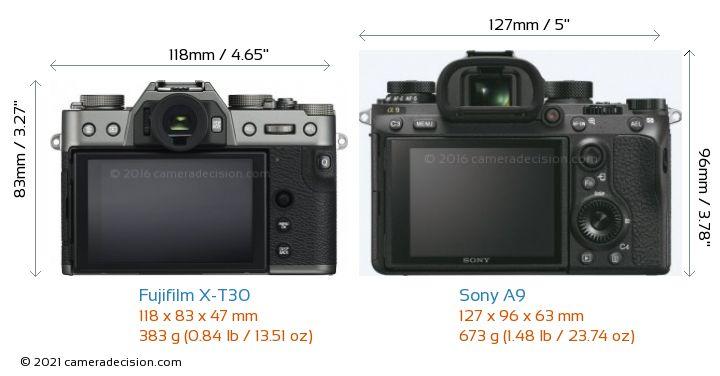 Fujifilm X-T30 vs Sony A9 Camera Size Comparison - Back View