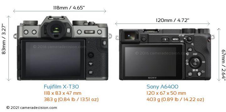 Fujifilm X-T30 vs Sony A6400 Camera Size Comparison - Back View
