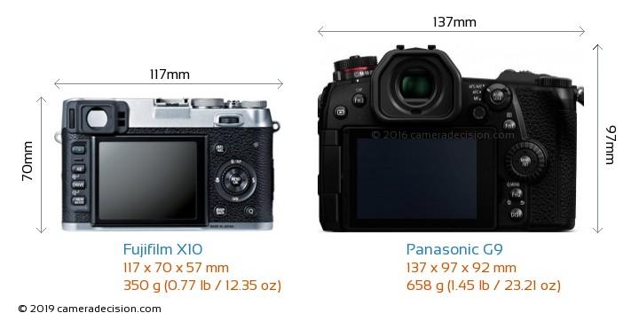 Fujifilm X10 vs Panasonic G9 Camera Size Comparison - Back View