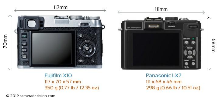 Fujifilm X10 vs Panasonic LX7 Camera Size Comparison - Back View