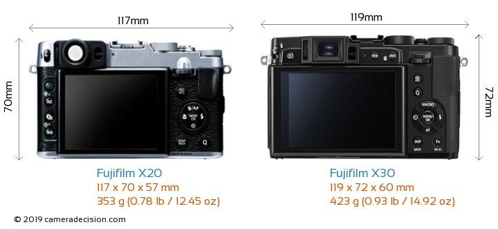 Fujifilm X20 vs Fujifilm X30 Camera Size Comparison - Back View