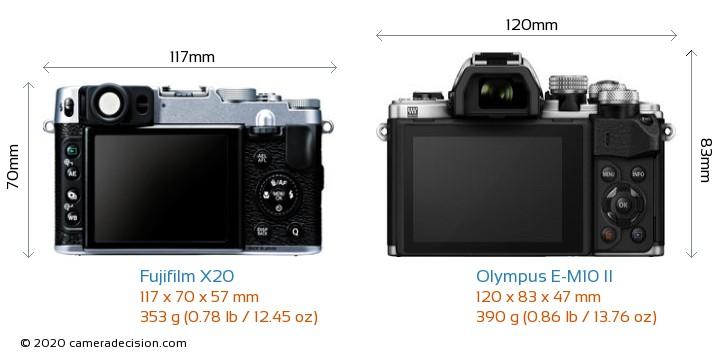 Fujifilm X20 vs Olympus E-M10 II Camera Size Comparison - Back View
