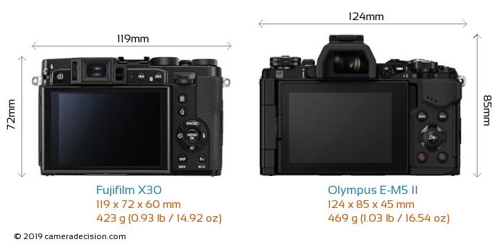 Fujifilm X30 vs Olympus E-M5 II Camera Size Comparison - Back View