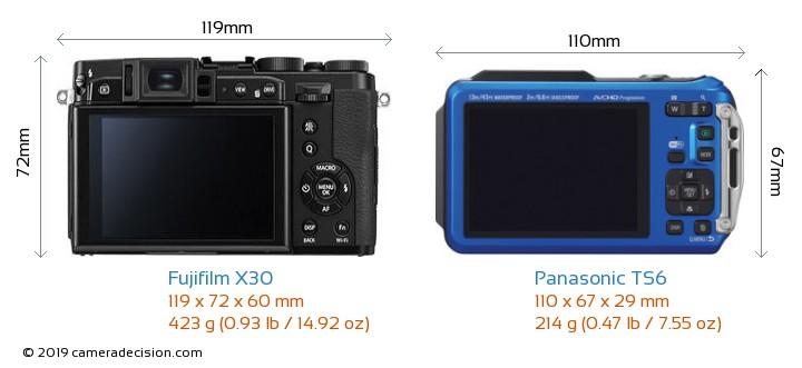 Fujifilm X30 vs Panasonic TS6 Camera Size Comparison - Back View