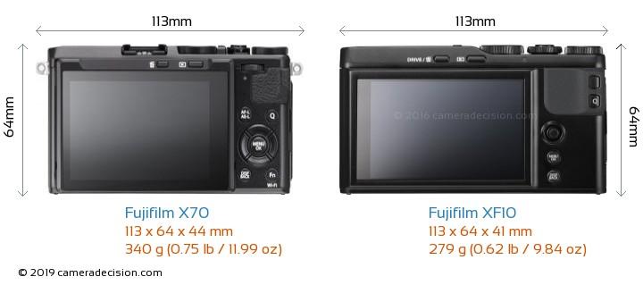 Fujifilm X70 vs Fujifilm XF10 Camera Size Comparison - Back View