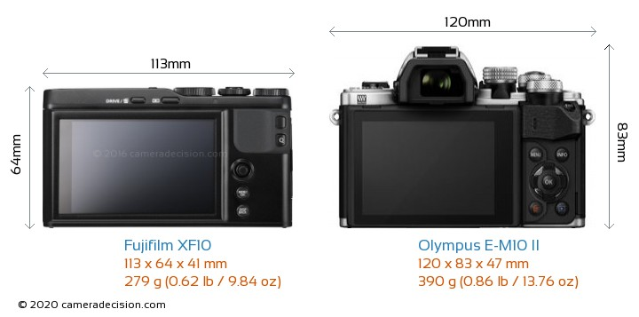 Fujifilm XF10 vs Olympus E-M10 II Camera Size Comparison - Back View