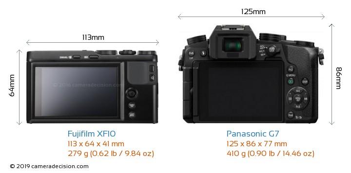 Fujifilm XF10 vs Panasonic G7 Camera Size Comparison - Back View