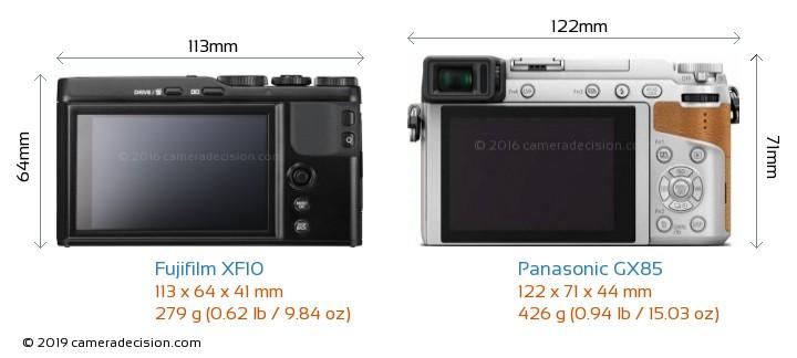 Fujifilm XF10 vs Panasonic GX85 Camera Size Comparison - Back View