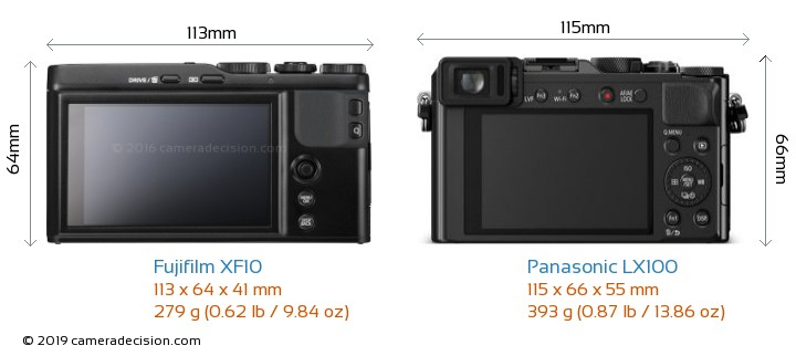 Fujifilm XF10 vs Panasonic LX100 Camera Size Comparison - Back View