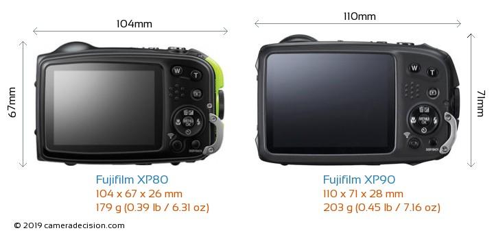 Fujifilm XP80 vs Fujifilm XP90 Camera Size Comparison - Back View