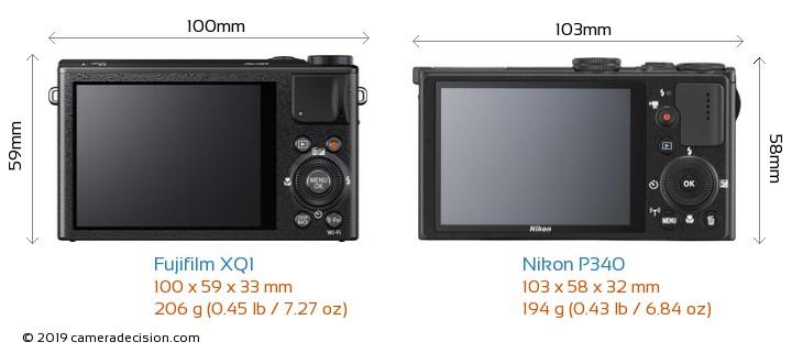 Fujifilm XQ1 vs Nikon P340 Camera Size Comparison - Back View