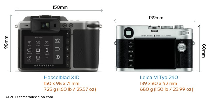 Hasselblad X1D vs Leica M Typ 240 Camera Size Comparison - Back View